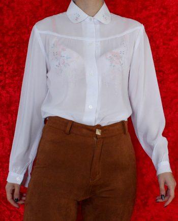 Vintage blouse bloem wit T678