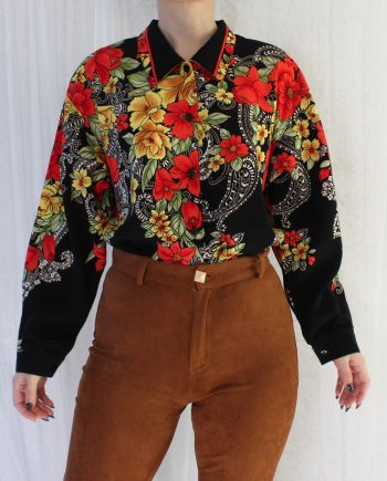 Vintage blouse bloem zwart T815