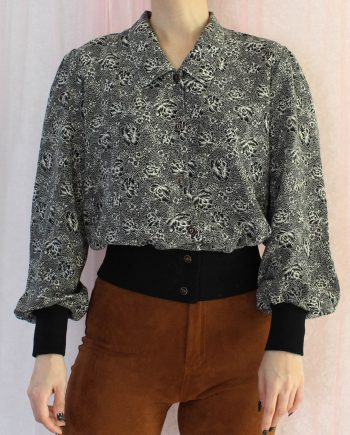 Vintage blouse bloem zwart beige T346