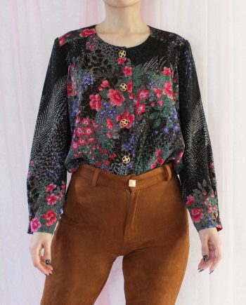 Vintage blouse bloem zwart roze T374