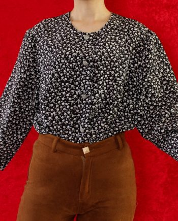 Vintage blouse bloem zwart wit T717