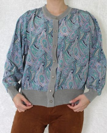 Vintage blouse bohemian groenblauw T675