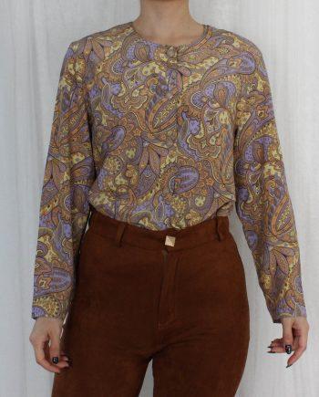 Vintage blouse bohemian lila geel T829