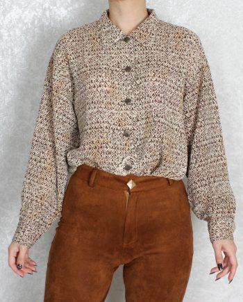 Vintage blouse bohemian pattern bruin T311