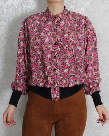 Vintage blouse boho bloem roze T707