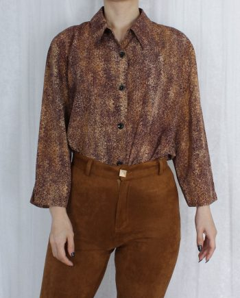 Vintage blouse bruin abstract T824