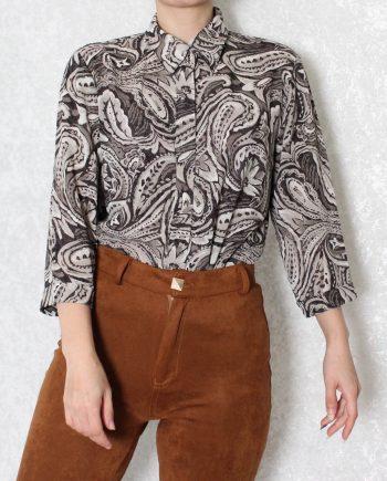 Vintage blouse bruin zwart T716