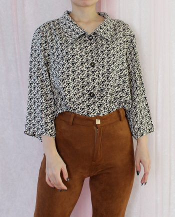 Vintage blouse clover beige zwart T808