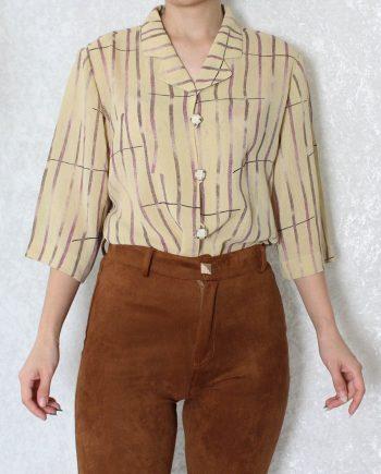 Vintage blouse stripe geel T837