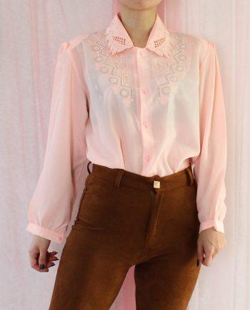 Vintage blouse lace roze T826