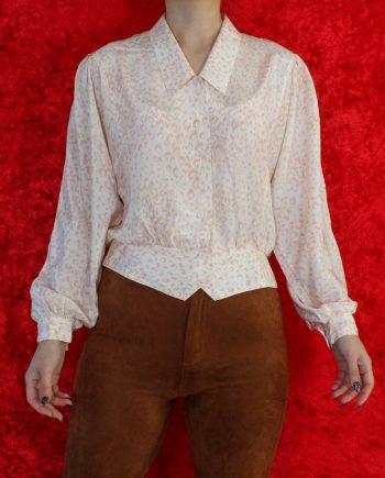 Vintage blouse leopard roze T827