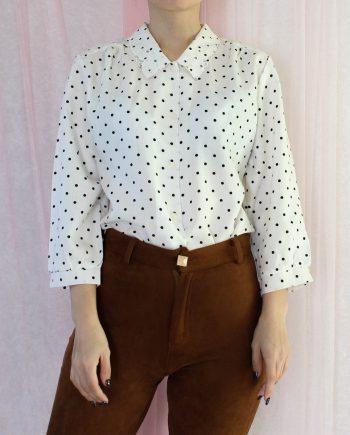 Vintage blouse polka dot lace collar T601.2