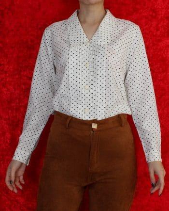 Vintage blouse polka dot zwart wit T717