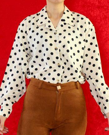 Vintage blouse polka wit navy T694