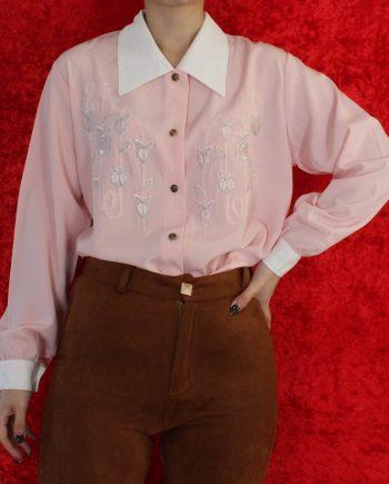 Vintage blouse roze wit T304.2