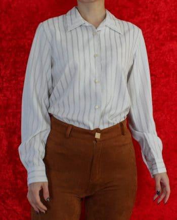 Vintage blouse stripe grijs T604