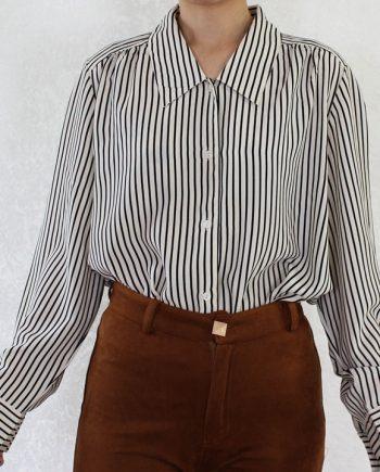 Vintage blouse stripe wit zwart T350