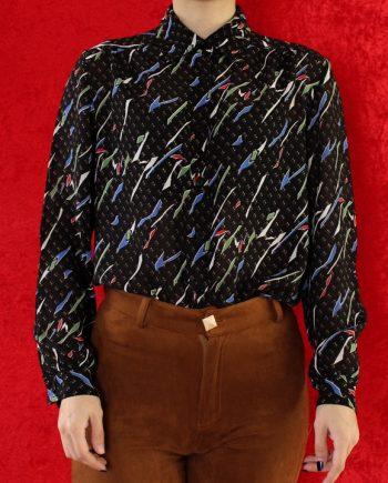 Vintage blouse zwart rood wit T652