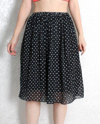 Vintage rok polka dot zwart T815