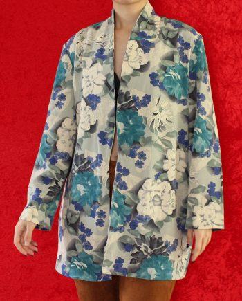 Vintage top bloem blauw paars T823