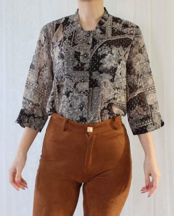 Vintage blouse boho bloem zwart T622