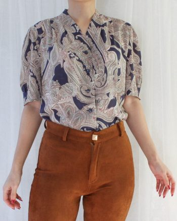 Vintage blouse boho navy beige T647