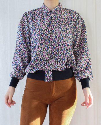 Vintage blouse lila blauw T332