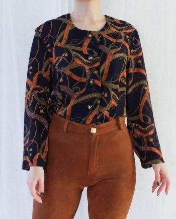 Vintage blouse navy oranje T832