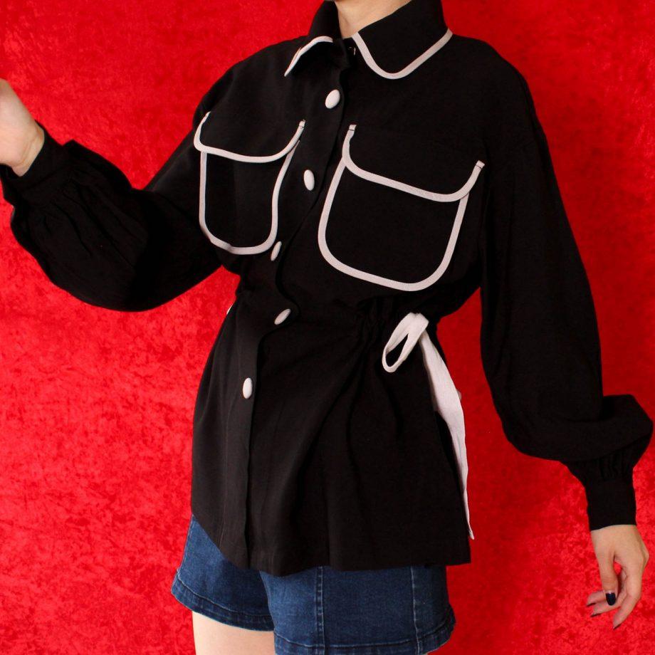 Basic blouse zwart grijs