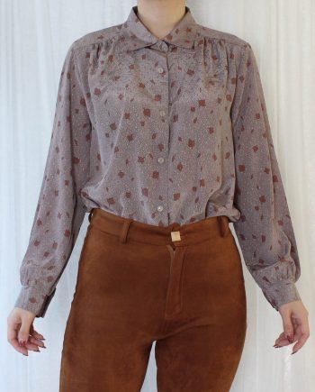 Vintage blouse blad bruinrood T702