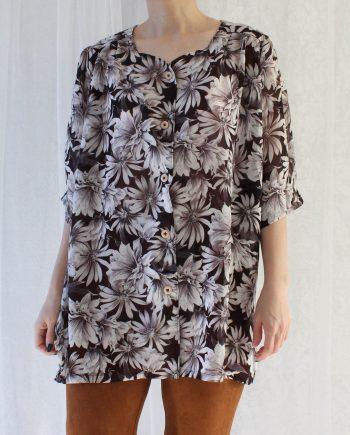 Vintage blouse bloem donker bruin T341