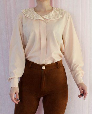 Vintage blouse lace collar T368