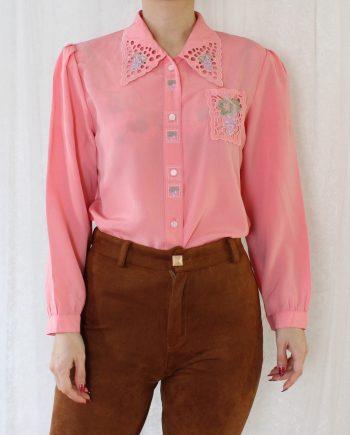 Vintage blouse lace hollow roze T821