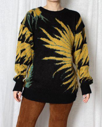 Vintage trui geel zwart T300
