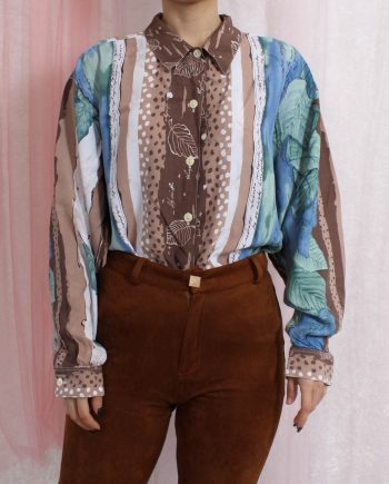 Vintage blouse blad polka T601.1