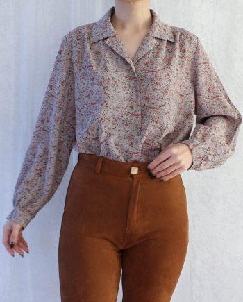 Vintage blouse bloemtje rood grijs T690.5