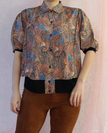 Vintage blouse bohemian rozebeige T708
