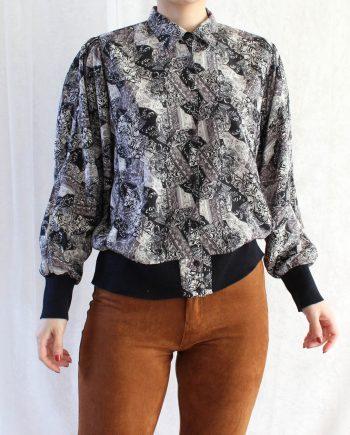 Vintage blouse bohemian zwart grijs T621