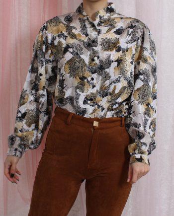 Vintage blouse boho zwart bruin T838