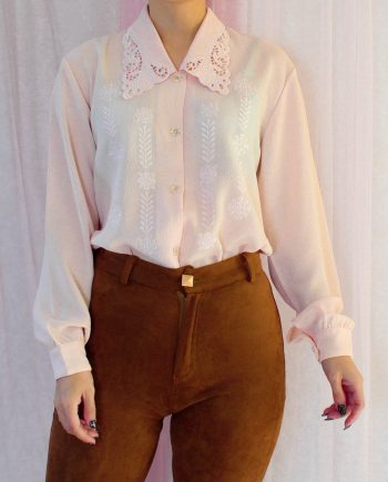 Vintage blouse lace collar roze T698