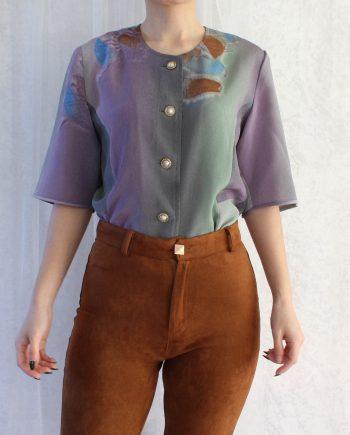 Vintage blouse lila groen T814
