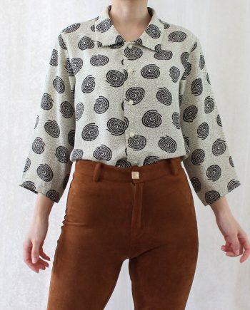 Vintage blouse zwart beige T818