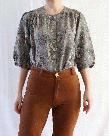 Vintage blouse groen paars T601.1