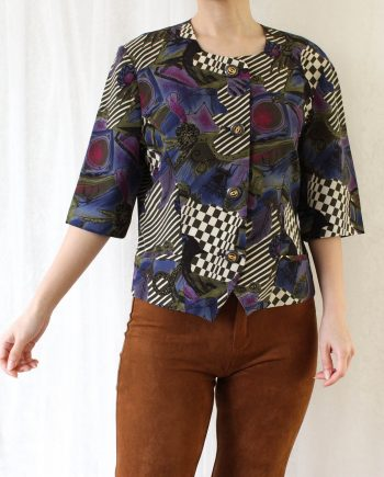 Vintage blouse abstract paars T825