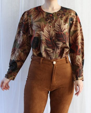 Vintage blouse blad bruin T835