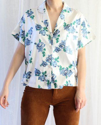 Vintage blouse bloem blauw wit T360