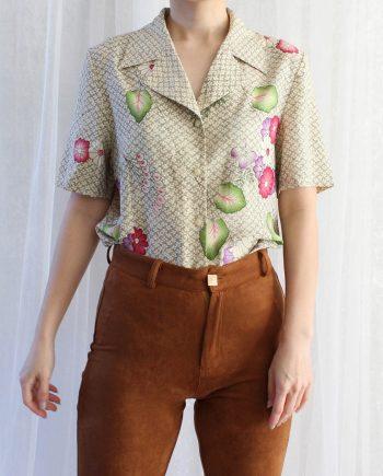 Vintage blouse bloem roze groen T654