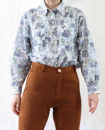 Vintage blouse boho blauw T836