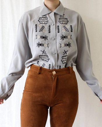 Vintage blouse grijs zwart T711