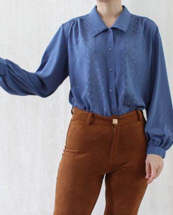 Vintage blouse lace blauw T692